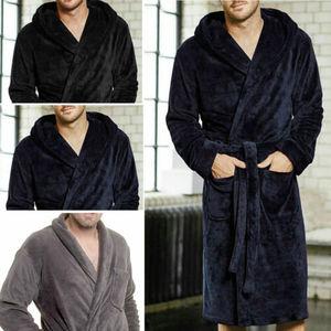 Image 4 - Vêtements de nuit pour hommes longues Robes col châle corail polaire peignoir Spa pyjamas doux