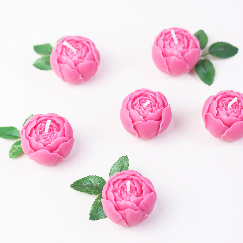 Set Of 10 Country Garden Flower Seed Wedding Favours With: 3PCS/SET Pink Rose Flower Candles In Gift Box Wedding