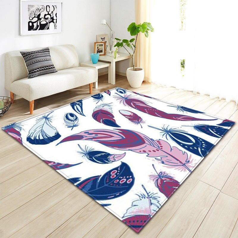 Nodic moderne plume impression tapis pour salon chambre couverture paillasson extérieur prière salon maison tapis de sol anti-dérapant tapete