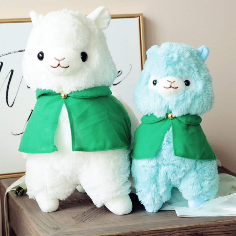1pc 35cm Kawaii Alpaca With Cloak Three Colors Plush Toy Soft Stuffed Doll High Quality Lovely Cute Gifts For Child Friend Girls