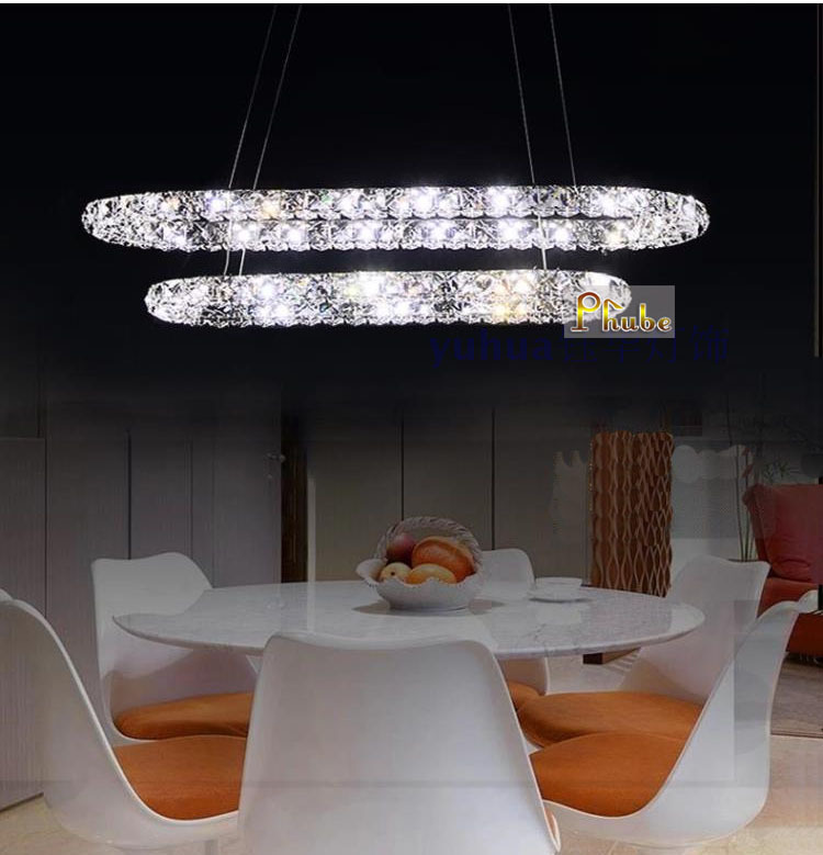 Phube Lighting LED Ring Pendant Light Modern Crystal Pendant Light 3 Sides Mounted k9 Crystal included Remote Control