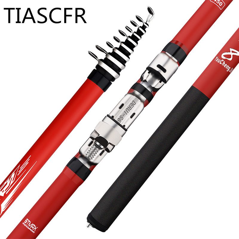 Image 4 - Portable rotary fishing 3.6M4.5M5.4M6.3M fishing rod tough carbon fiber M power telescopic travel sea boat rock fishing rod-in Fishing Rods from Sports & Entertainment