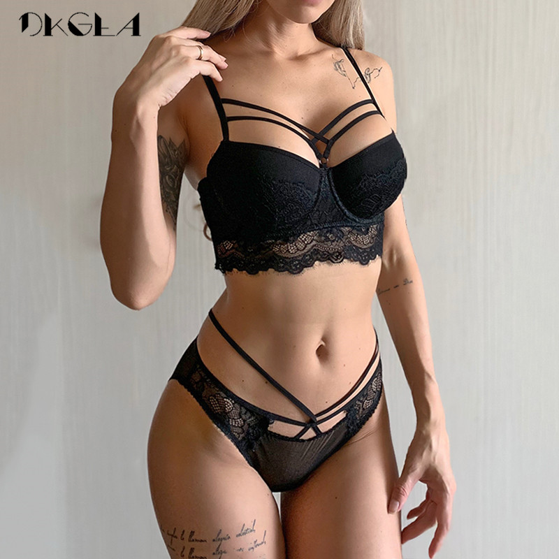 2019 Top Sexy Bra Set Push-Up Brassiere Bandage Black Embroidery Lingerie Sets Women Thick Gather Underwear Set Cotton Bras Lace