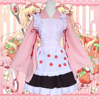 Anime Cosplay Card Captor Cos SAKURA Halloween Party Woman Man Japanese Lolita Cartoon strawberry kimono maid Cosplay Costume