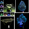 3D Optical Illusion 7 Color Change Night Touch Switch LED Superman Skull Flower Desk Table Light Lamp Xmas Boys Girls Toy Gift