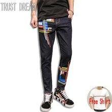 VERTRAUEN TRAUM Europäer-art Männer Schlank Painted Jeans Dark Blue Bodenlangen Straße Mann Mode Erstaunliche Jean