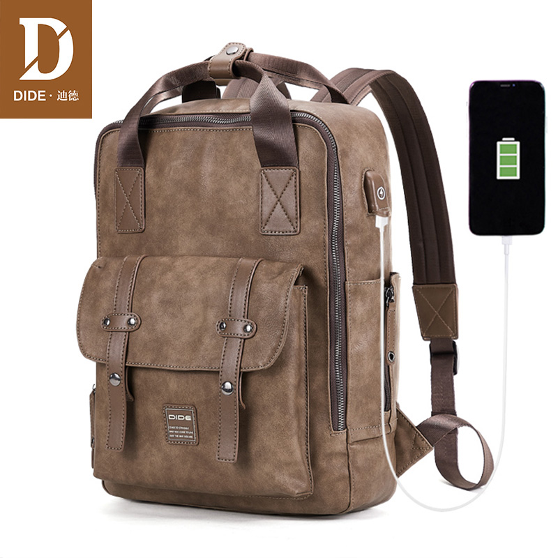 DIDE Large Capacity Backpack Male USB charging port Travel Backpack PU Leather 14 15 inch Laptop