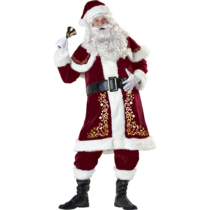 A Full Set Of Christmas Costumes Santa Claus Cosplay Costume Red Christmas Clothes Luxury Suit With Wig and Beard For Adults