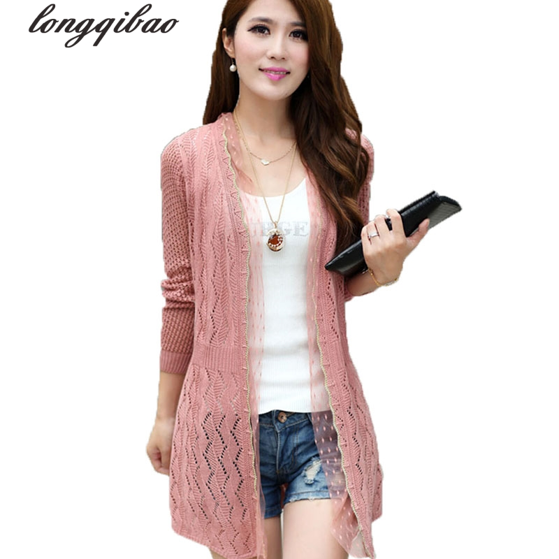 Spring and summer new women 's hollow in the long paragraph shawl jacket sweater thin knitted air - conditioning cardigan TB7510
