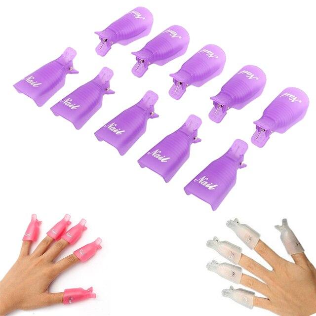 Nuevo 10 piezas de arte de uñas remoje el casquillo Clip de Gel UV polaco removedor de herramienta de Arte de uñas Consejos para dedos púrpura de alta calidad