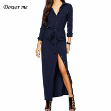 Мода открытым Разделение женское платье vestidos элегантный длинный рукав дамы длинная рубашка Платья для женщин женские Повседневное макси платья yn3098