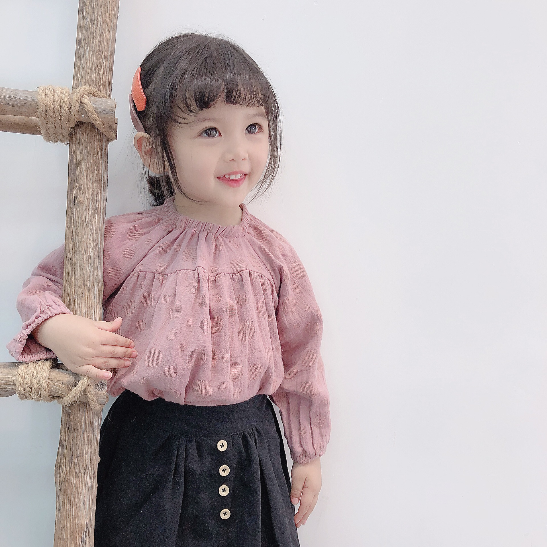 2019 Spring Wave Point Doll Collar Shirt for Baby Girls Kids Cotton Linen Shirt Long Sleeved Children Girls Blouses Casual Cloth