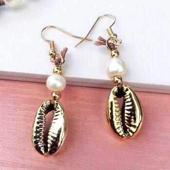 Dm pérola cowrie conchas brincos femininos moda jóias 2020 dourado gancho conchas brinco boho oorbellen bijoux femme conchas 1