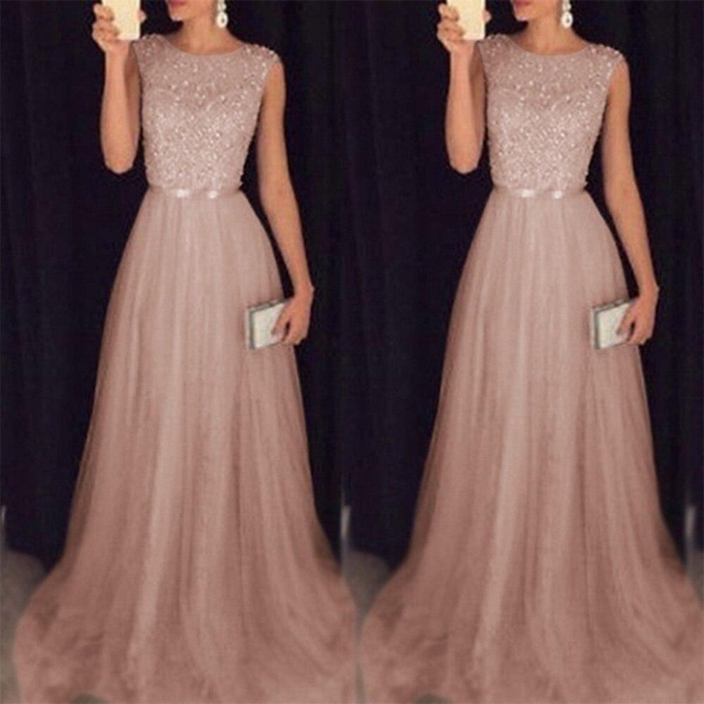 Women's Luxury Elegant Sequins Mesh Hem Long Party Dresses New Fashion Lace Up Slim Fit Sleeveless Maxi Dresses