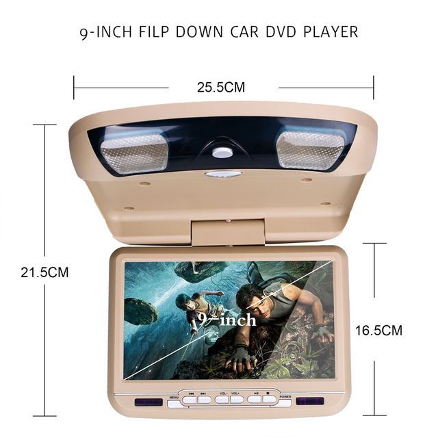 9 인치 자동차 모니터 지붕 천장 마운트 뒤집기 led 디지털 화면 dvd 플레이어 ir fm 송신기 usb sd mp5 스피커 게임