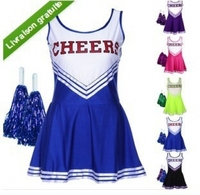 Free Shipping 2014 Hot Selling Student Games cheerleader costume sexy female CHEERS cheer aerobics clothing uniforms costumes