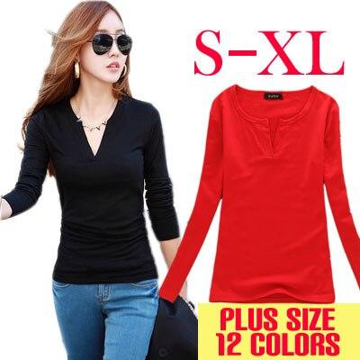 12 Barva Velikost V-Neck háčkování Solid T-Shirt Dámské Dlouhé rukávy Topy & Tees Módní Sirt Košile Pletené roupas femininas