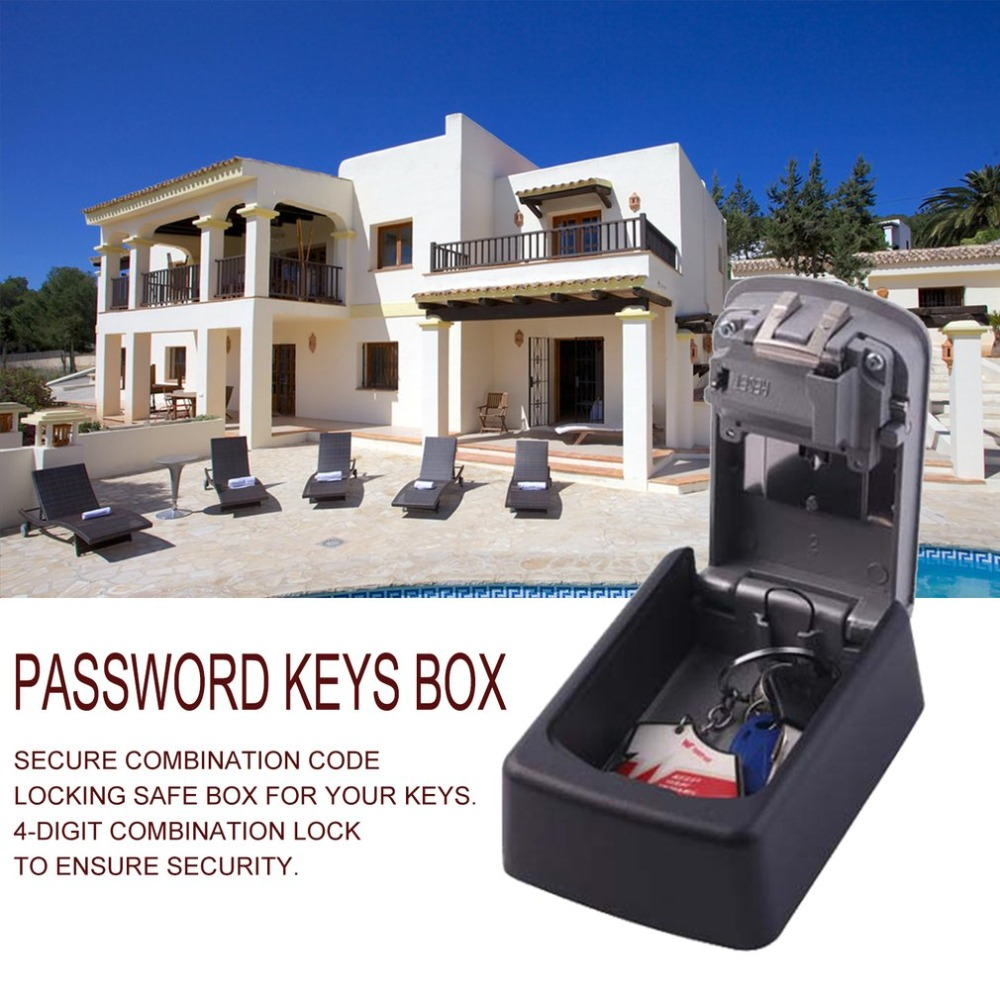 Strong zinc alloy 4 Digit Combination Password Keys Box Key Storage Organizer Box Wall Mounted Home Security Code Lock Key Box