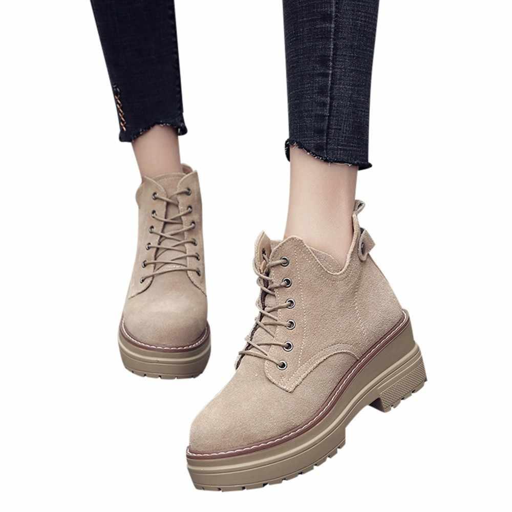SAGACE moda ayakkabılar kadınlar sıcak kış kalın dantel-up rahat kısa çizmeler kadınlar için yuvarlak ayak ayakkabı platformu Martin çizmeler kadın