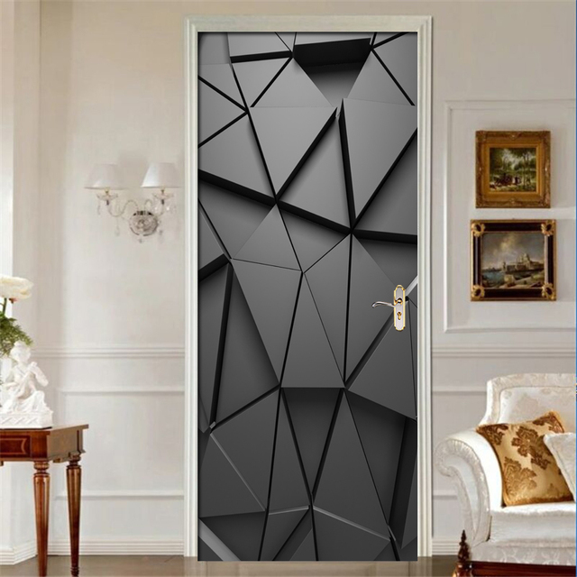 Door Stickers DIY 3D Mural For Living Room Bedroom Home Decor Poster PVC Self adhesive Waterproof Creative Door Sticker Decals
