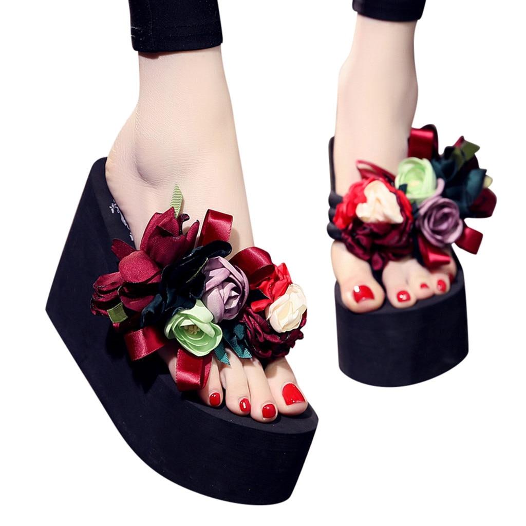 DIY Hot Womens Rose Flowers Flip Flops High Wedge Platform Beach Sandals Shoes