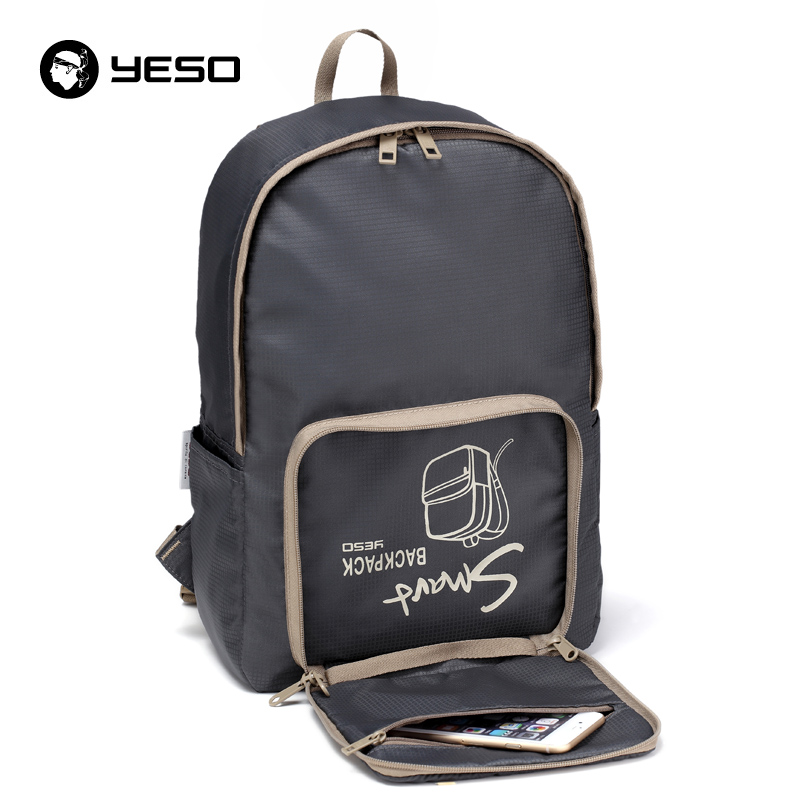 YESO Fashion Casual Folding Backpack Men Waterproof Portable Nylon Backpack Women Lightweight Blue Backpacks Bags For Teenager