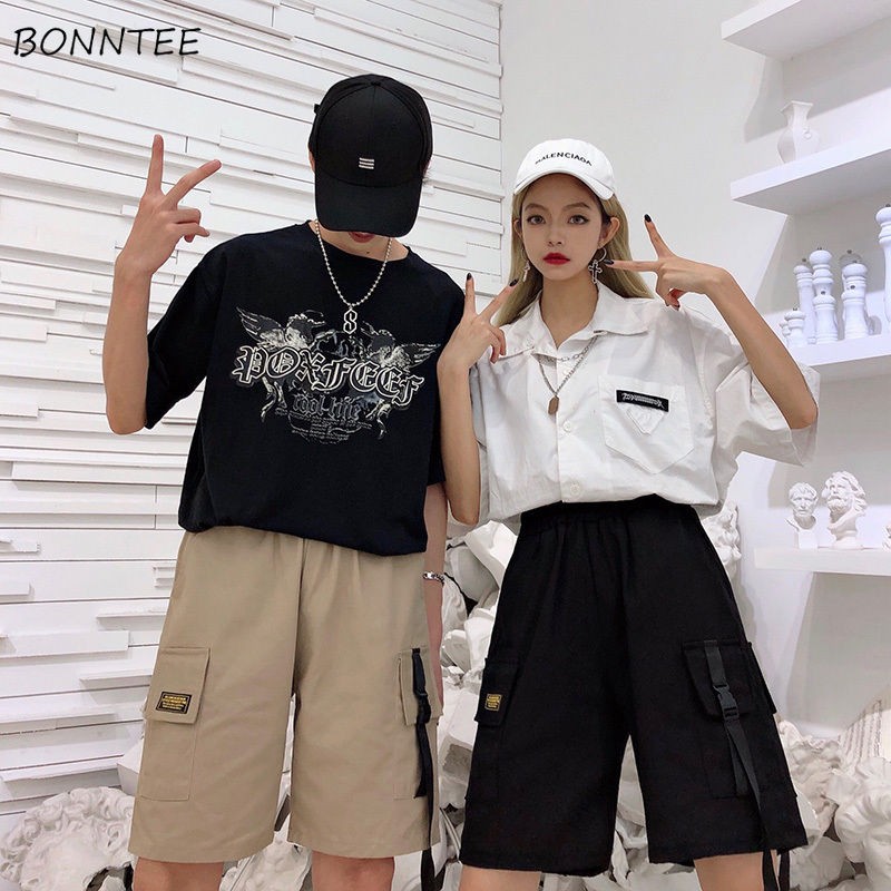 Shorts   Women BF Large Pocket Cargo Harajuku Straight Loose   Short   Womens Leisure Couple Korean Style Ulzzang Trendy Street Summer