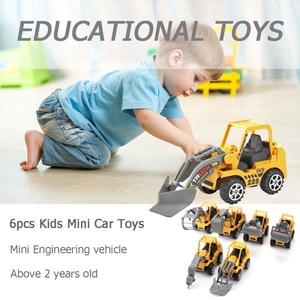 Image 4 - 6 adet/grup Mini araba oyuncak Diecast araç setleri inşaat buldozer ekskavatör mühendislik araç kiti çocuklar Mini mühendislik araba