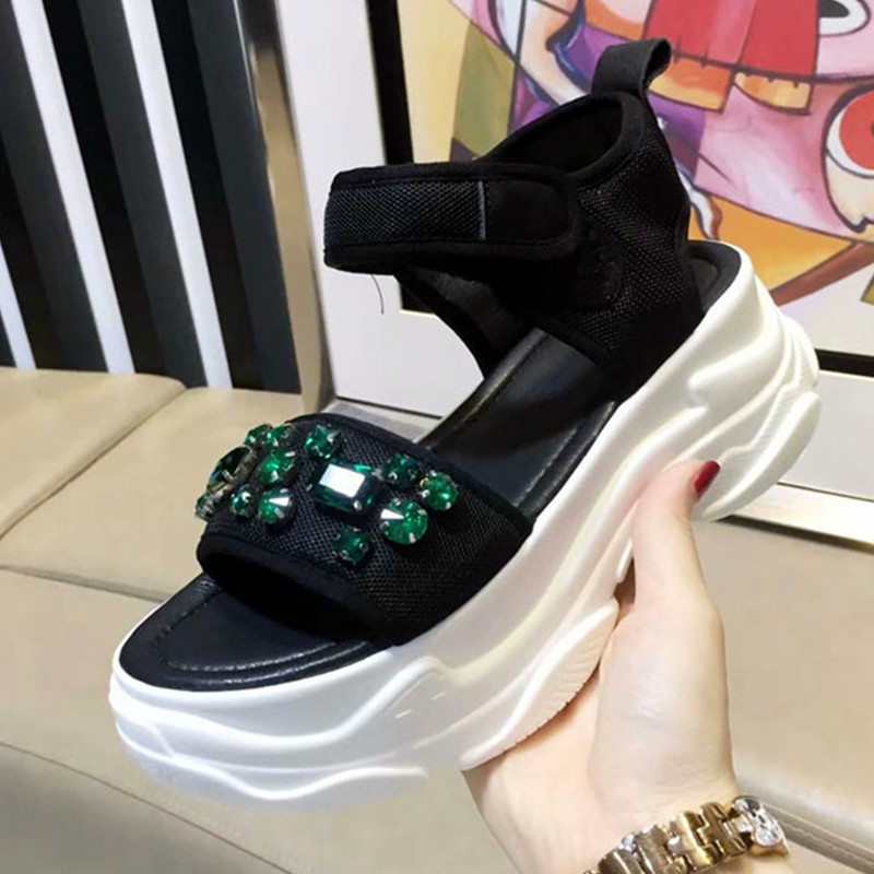 Casidueho Strange Heels Flats Platform Shoes Woman Rhinestone Sandalias Mujer 2018 Chic Open Toe Dress Gladiator Sandals Women