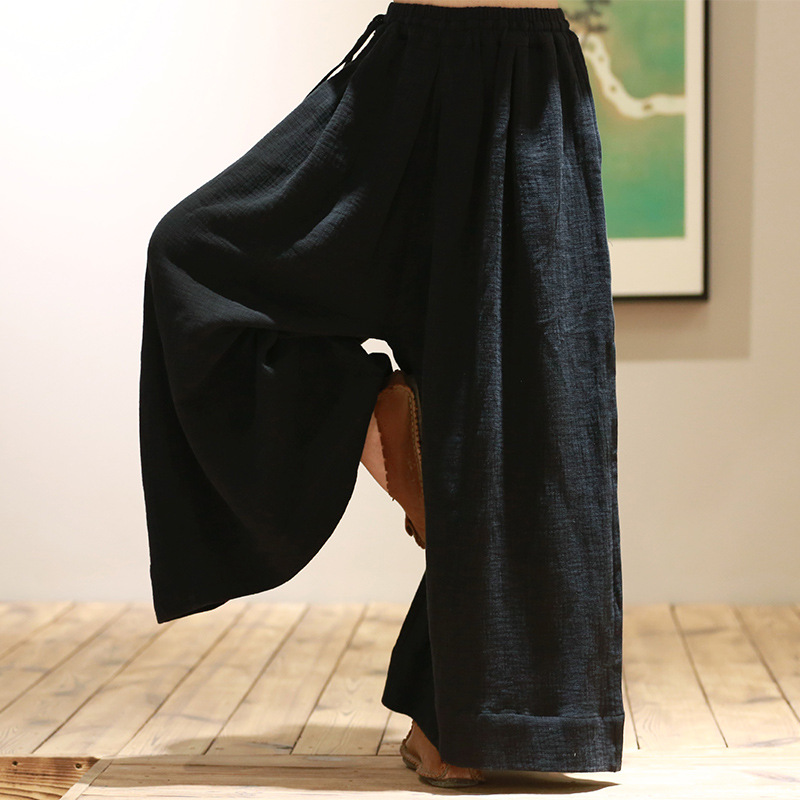 Women Chinese Style Casual Loose   Wide     Leg     Pants   Ethnic Summer Style Cotton Linen Vintage Girl   Pants