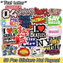 50 st Text Letter Stickers Roliga Graffiti Stickers för Laptop Bagage Skateboard Cykelbil Styling Dekaler Vattentät klistermärke