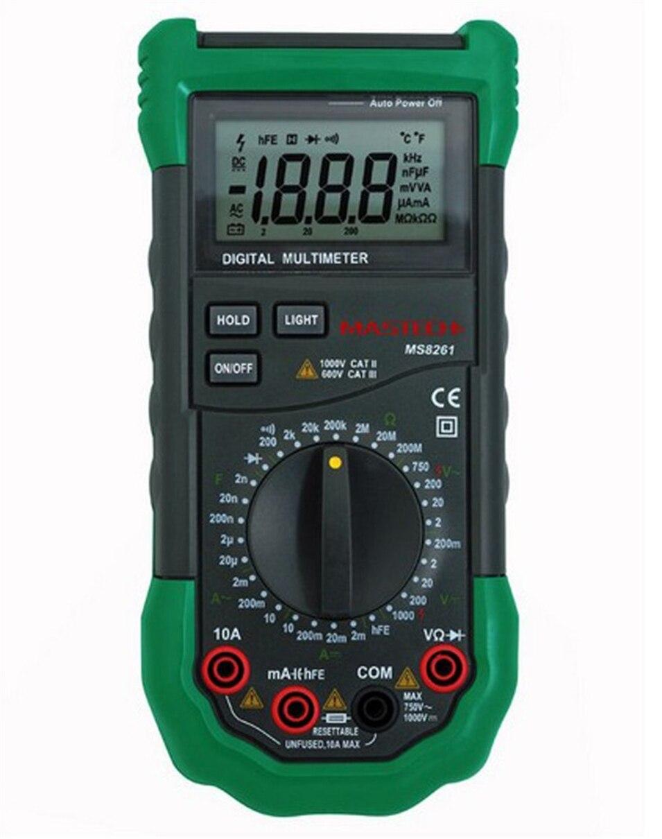 Mastech MS8261 3 1/2 Digital Multimeter AC DC Electrical Capacitance Resistance Transistor Tester Meter mastech my6243 3 1 2 1999 count digital lc c l meter inductance capacitance tester