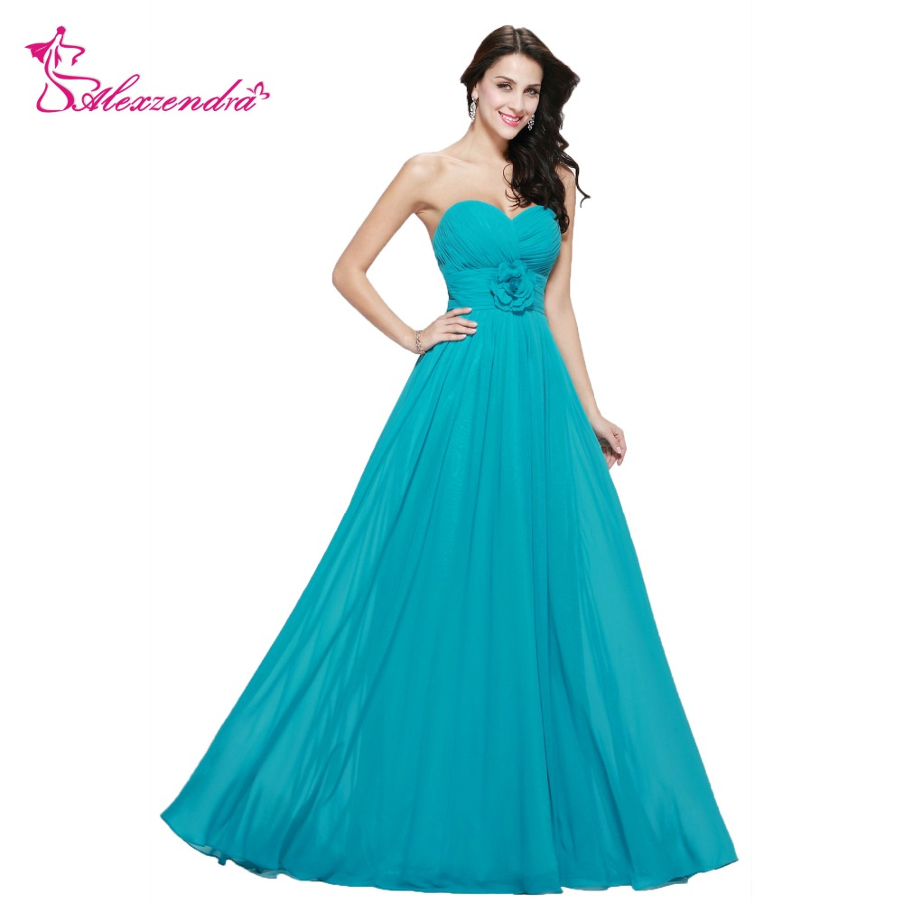 Alexzendra Blue Cheap Simple Flowers Long Chiffon   Bridesmaid     Dresses   Party   Dress   for Wedding