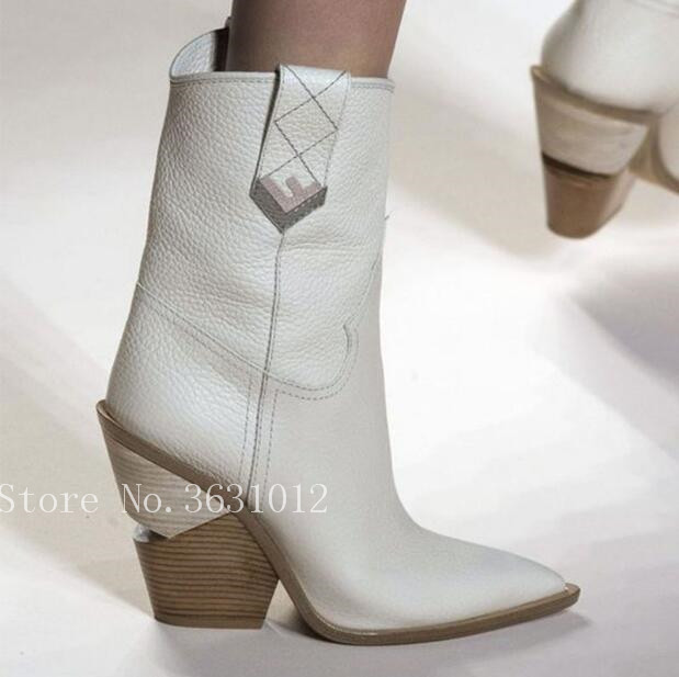As Mi mollet Cuir 42 Chunky Western Piste Pic Bleu as En Véritable Femmes Talons Point Taille Cowboy Grande Pic Rose Bootas Toe Bottes Chaussures Cales ZwulOkiPXT