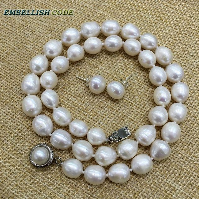 Low Price 9 10mm White Pearl Necklace Stud Earring Set Real Natural Cultured Freshwater