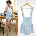 Jardineira Jeans com Camiseta 2017 new fashion women Girl ladies Washed Jeans Denim Casual  Jumpsuit Romper Overall Short