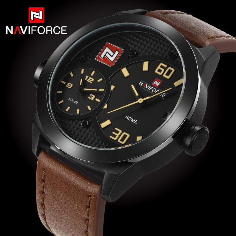 2017 New Luxury Brand Naviforce Men Sports Watch Leather Quartz Clock Dual Time Zone Male Military Wrist watch Relogio Masculino naviforce new genuine leather watch men