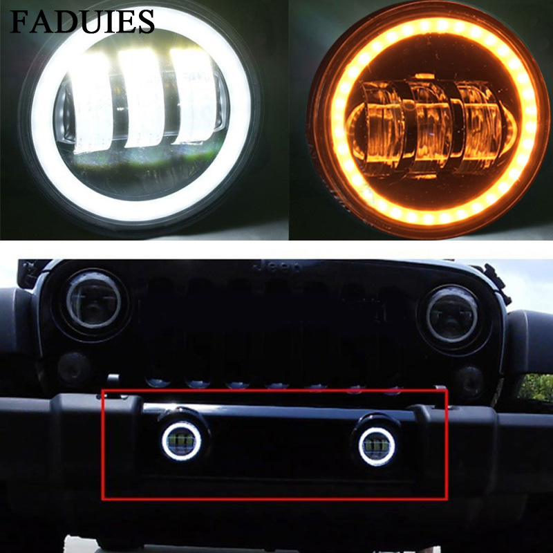 FADUIES Pair 4 Inch Round Led Fog Light Yellow Turn Halo Ring & White Lamp DRL Bulb Angle Eyes for Jeep Wrangler JK LJ TJ 6 inch led headlights eagle light hi lo beam halo ring angel eyes x drl for offroad jeep wrangler front bumper fog light