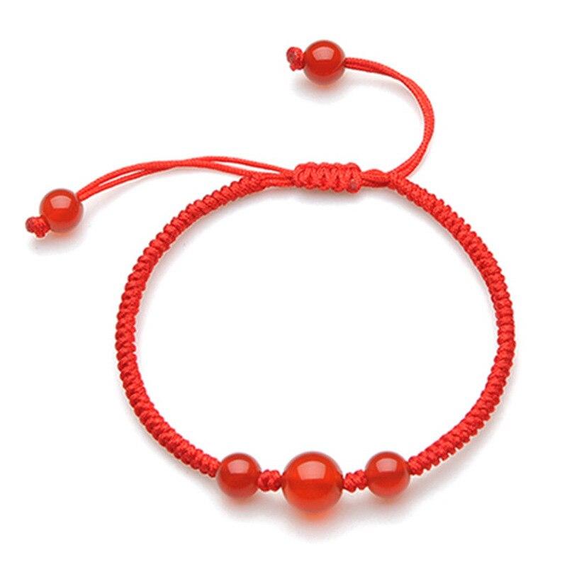 RongDe Chinese style Braided Lucky Red String Bracelet Red thread Stone Handmade Weaving For Men Women Lovers Couple Bracelet