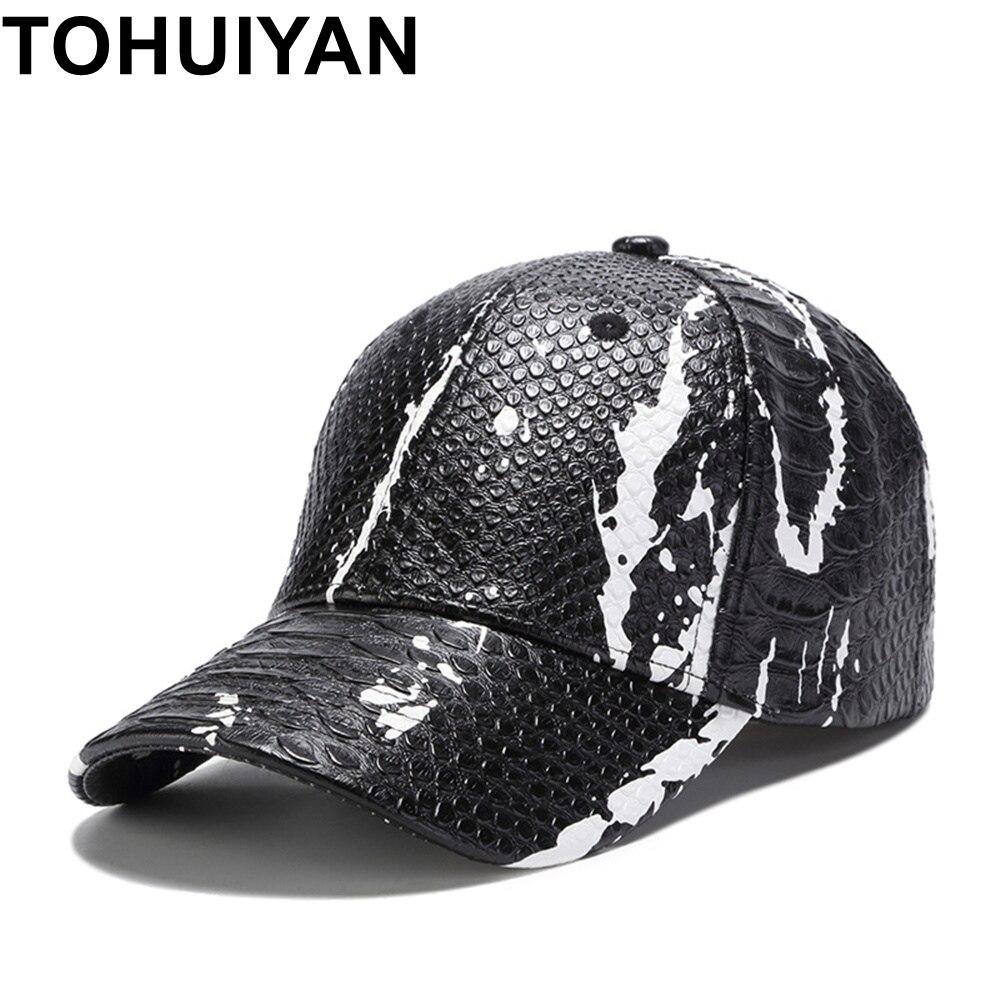 TOHUIYAN Men Women Snakeskin PU Leather   Baseball     Cap   Autumn Winter Adjustable Gorras Snapback Hats Hip Hop Casquette Dad   Caps