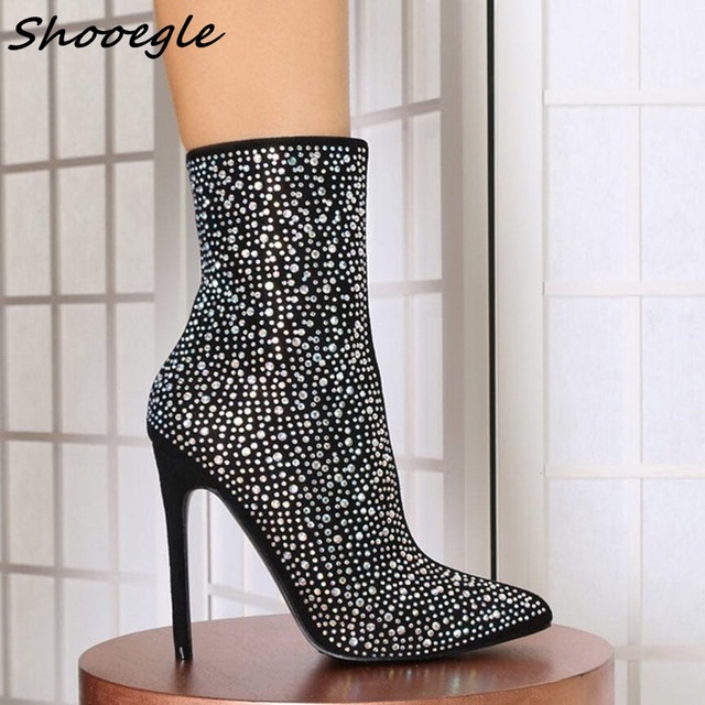 SHOOEGLE Newest Luxury Crystal Women Pointy Toe Ankle Boots Sexy High Heel  Boots Ladies Knight Boots Rhinestone Boots Fashion bb4b1b04aaa5