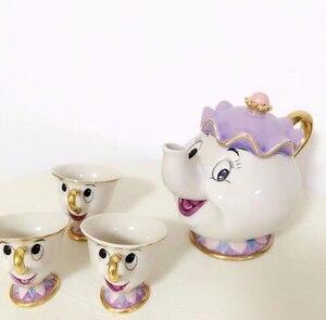 Nette Cartoon Schönheit Und Das Biest Kaffee Tee-Set Becher Mrs Potts Chip Tee Tasse One Set [1pot + 2 tassen] für Freund Geschenk