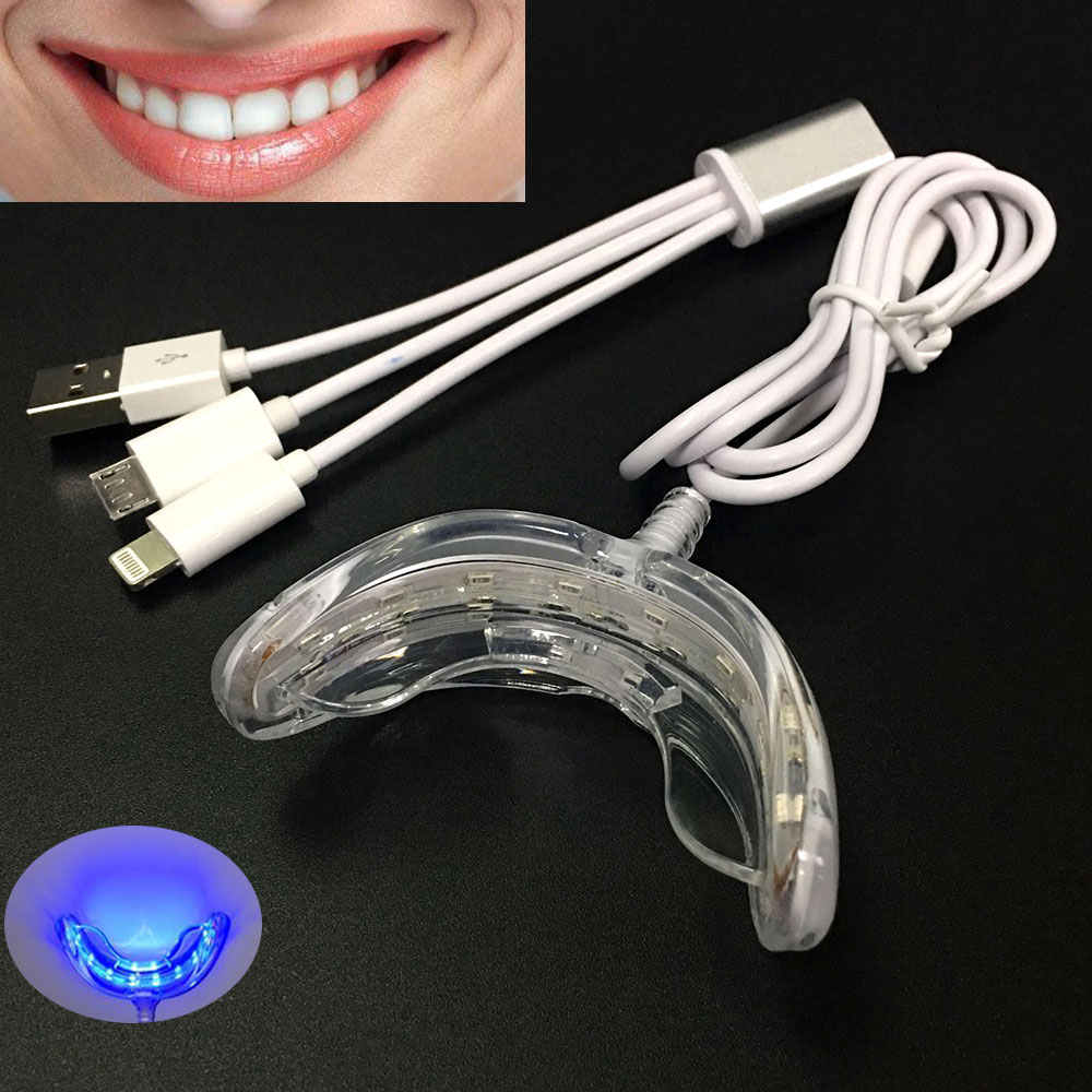 16 LEDs Cold Light Teeth Whitening Device Mouth Tray USB Dental Professional Tooth Whitener Bleaching Personal Oral Care Tool
