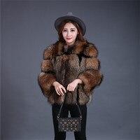 Màu Nâu sẫm Lông Gấu Trúc Áo Khoác Lông Gấu Trúc Parka Sọc Áo Chắp Vá Rex Rabbit Fur Jacket Blazer