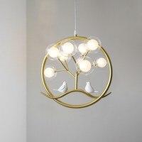 Bird cage ring chandelier Lamp Nordic Design Tree Branch Chandelier Indoor home Kitchen Dining room Restaurant halo chandelier