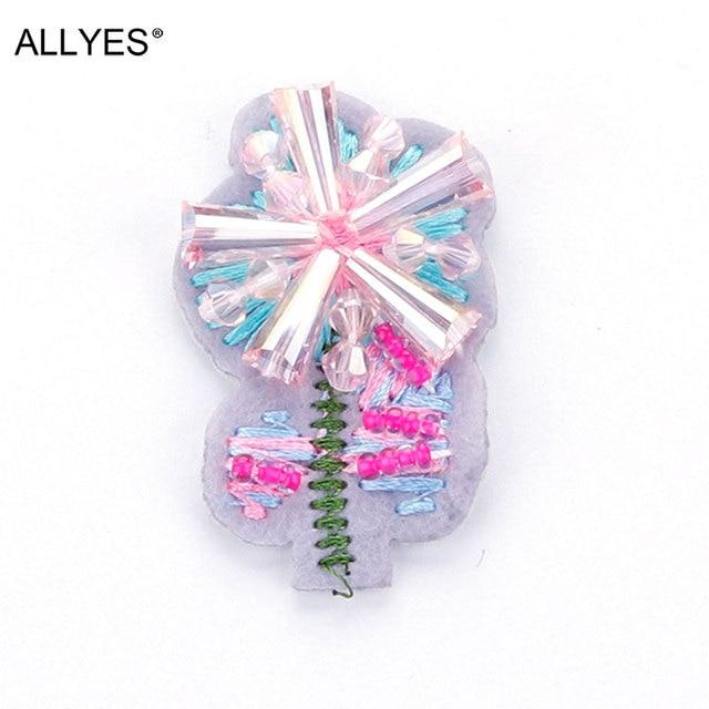 Allyes прекрасный кристалл Вышивка цветок брошь Булавки знак безопасности и моды красивый отворот Шпильки и Броши для Для женщин ювелирные изделия