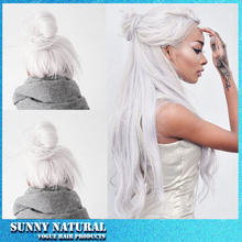 New 2016 fashion white hair loose wave synthetic lace front wig heat resistant synthetic wigs for black women free shipping