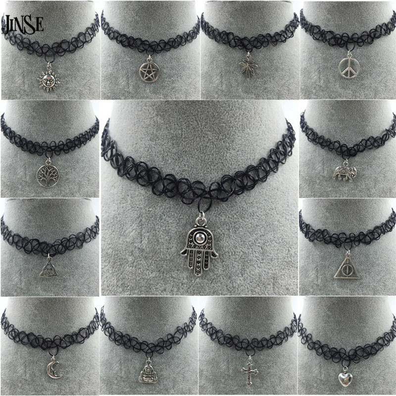Love Hope Hippy Boho Gothic Letters Black Choker Necklace Alphabet Pendant Charm