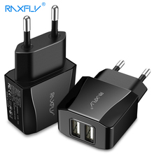 RAXFLY 2.1A USB Travel Charger For iPhone X 6 6s 7 8 Plus Dual Ports EU Charging Phone Tablet Laptop Accessories