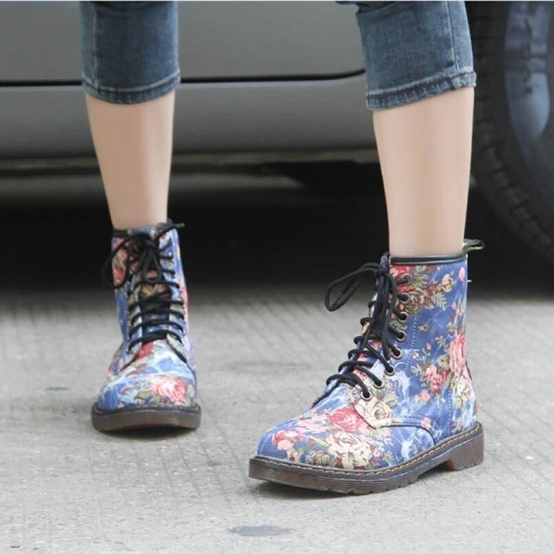 Femme Fidanei Pour Black Moto Bottes Cowboy Muscle Belle up La Dentelle Femmes Mode Plat Vache Chaussures Cheville Automne Plus blue Taille Fleur gpgqxf8